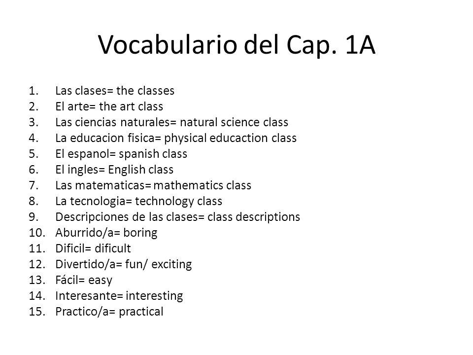 Vocabulario del Cap.