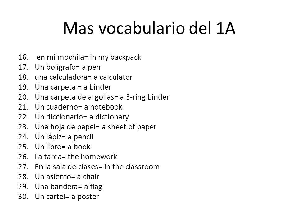 Mas vocabulario del 1A 16.