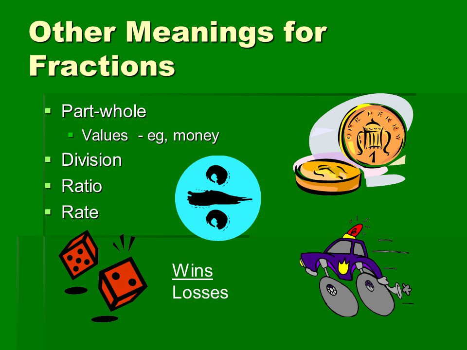 Other Meanings for Fractions  Part-whole  Values - eg, money  Division  Ratio  Rate Wins Losses