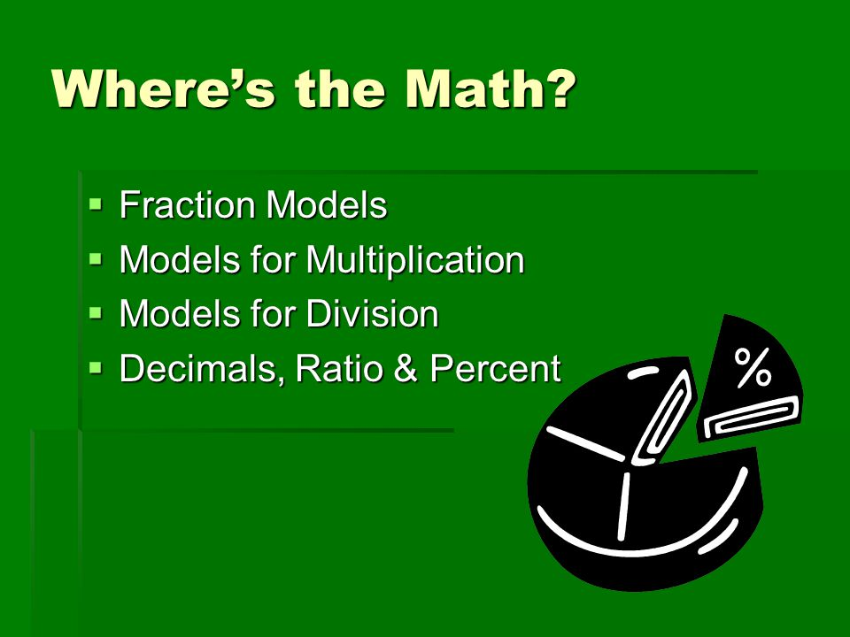 Where's the Math?  Fraction Models  Models for Multiplication  Models for Division  Decimals, Ratio & Percent