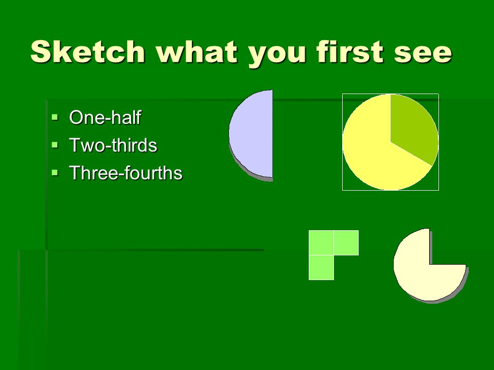 Sketch what you first see  One-half  Two-thirds  Three-fourths