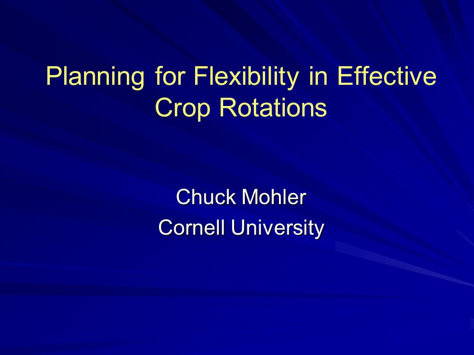 Outline Introductory comments What we learned from the famers Tools for crop rotation planning Basics of a planning procedure Managing pests and weeds with rotation