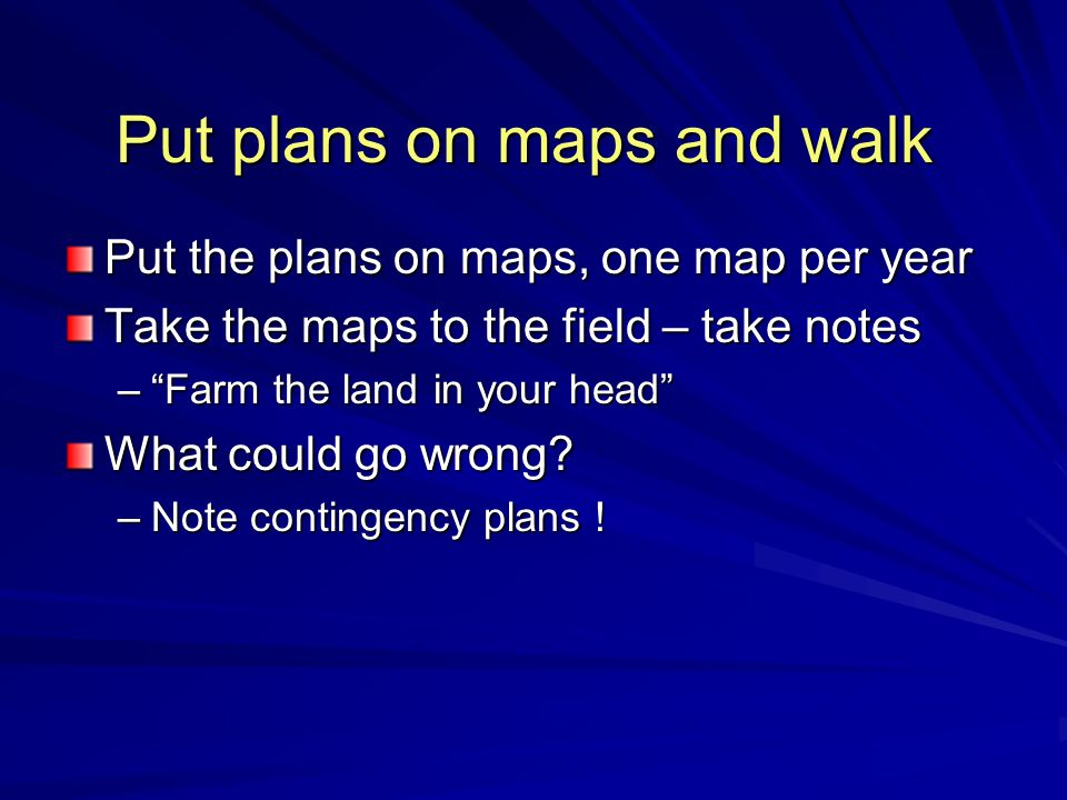 Put plans on maps and walk Put the plans on maps, one map per year Take the maps to the field – take notes – Farm the land in your head What could go wrong.