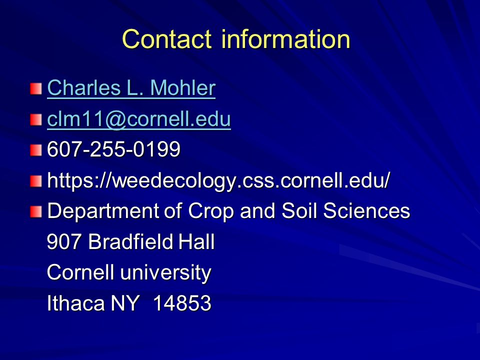 Contact information Charles L. Mohler Charles L.