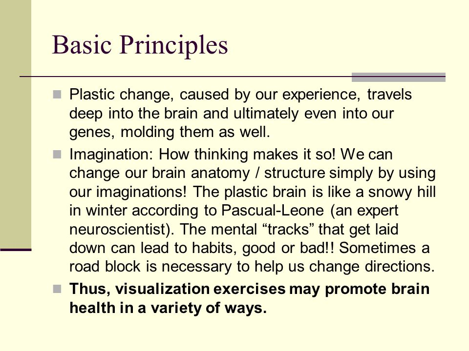 Basic Principles Plastic change, caused by our experience, travels deep into the brain and ultimately even into our genes, molding them as well.