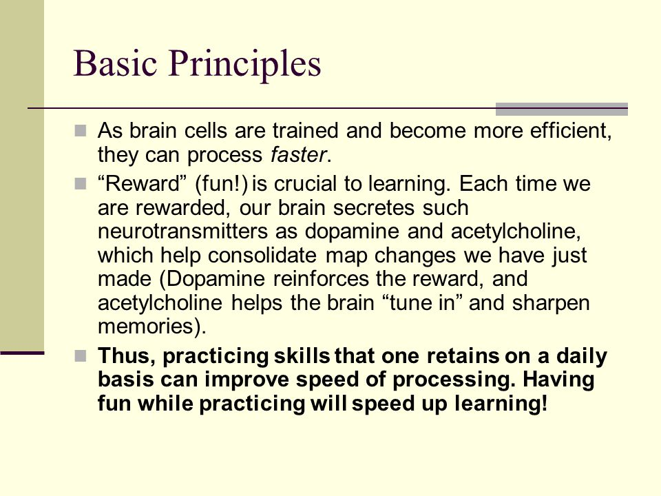 Basic Principles As brain cells are trained and become more efficient, they can process faster.