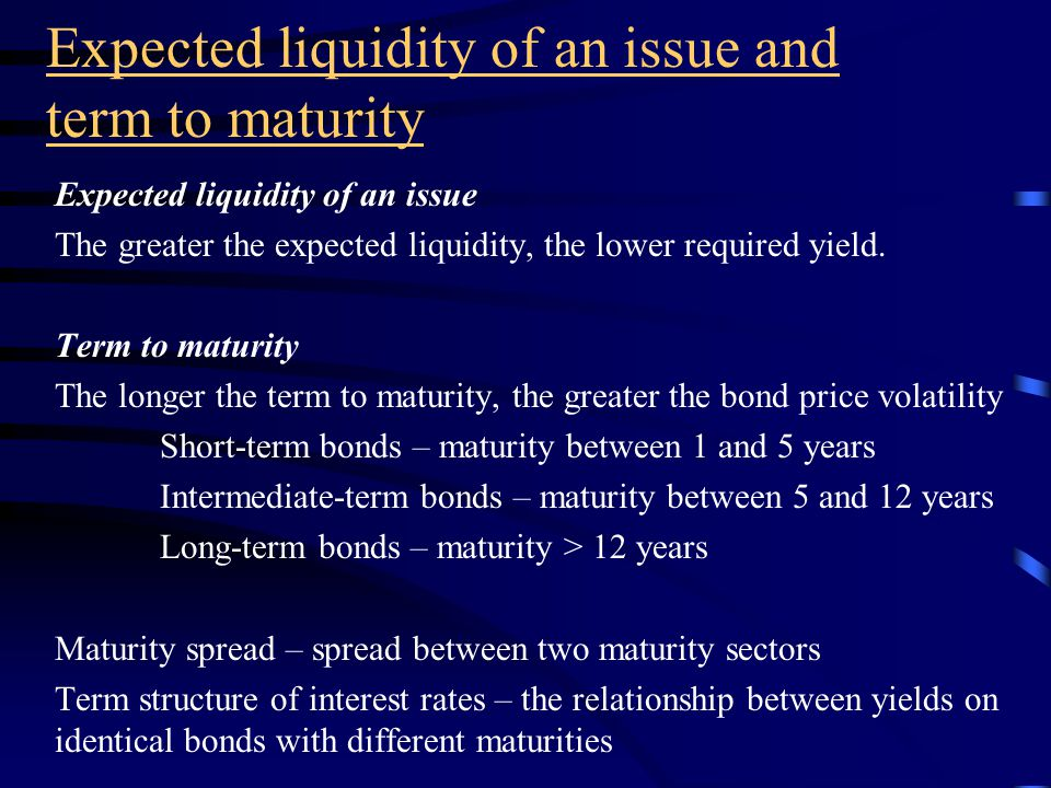 Taxability of interest After-tax yield for taxable bond issues After tax-yield = pretax yield x (1- marginal tax rate) Equivalent taxable yield – taxable issue yield = after-tax yield on tax- exempt issue Equivalent taxable yield = tax exempt yield (1- marginal tax rate) Municipal bonds General obligations Revenue Housing Power Hospitals Insured