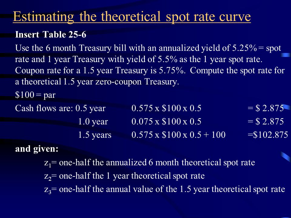 On-the-run Treasury issues Then, the yield for intermediate points is found by adding to the yield at the lower maturity the amount from the computation above.