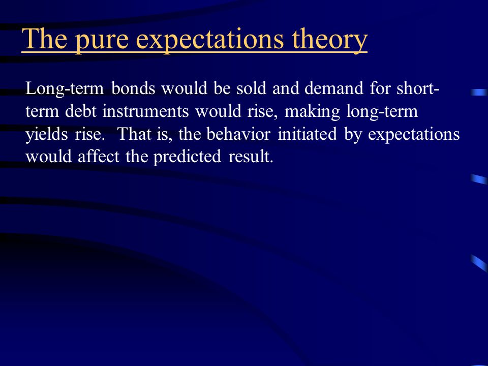 The pure expectations theory Forward rates exclusively represent the expected future rates.