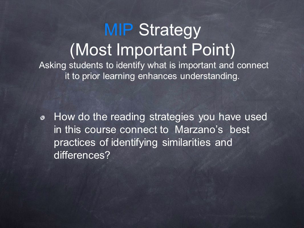 MIP Strategy (Most Important Point) Asking students to identify what is important and connect it to prior learning enhances understanding. How do the