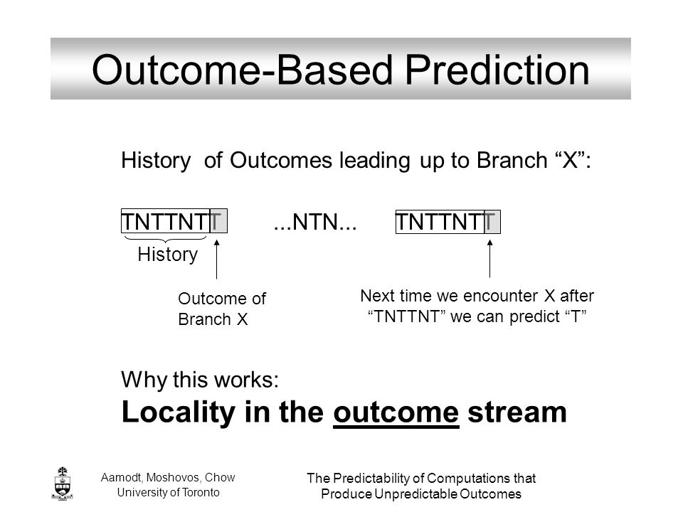 Aamodt, Moshovos, Chow University of Toronto The Predictability of Computations that Produce Unpredictable Outcomes Outcome-Based Prediction History o