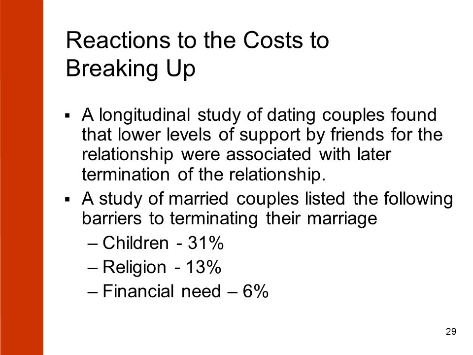 29 Reactions to the Costs to Breaking Up  A longitudinal study of dating couples found that lower levels of support by friends for the relationship w