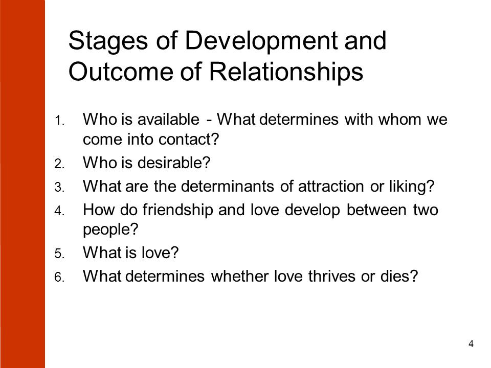 4 Stages of Development and Outcome of Relationships 1.