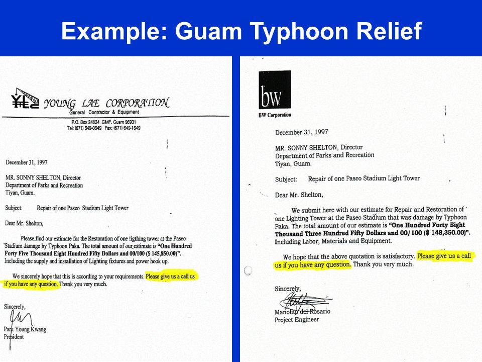 18 Example: Guam Typhoon Relief