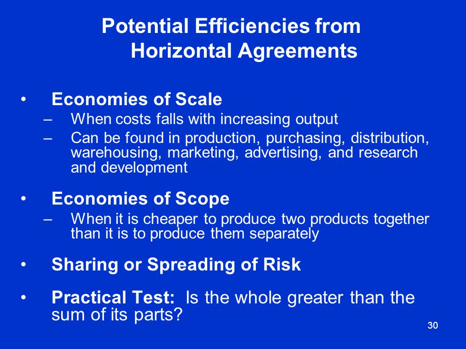 30 Potential Efficiencies from Horizontal Agreements Economies of Scale –When costs falls with increasing output –Can be found in production, purchasi