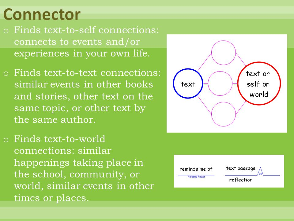 o Finds text-to-self connections: connects to events and/or experiences in your own life. o Finds text-to-text connections: similar events in other bo
