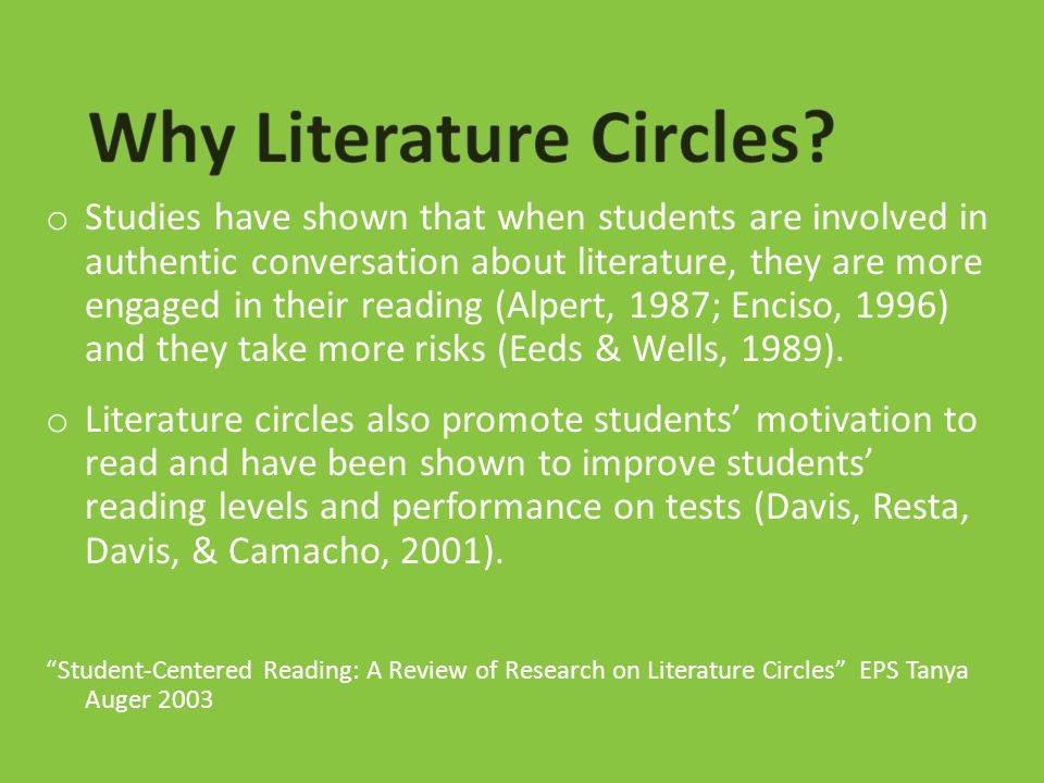 o Studies have shown that when students are involved in authentic conversation about literature, they are more engaged in their reading (Alpert, 1987;