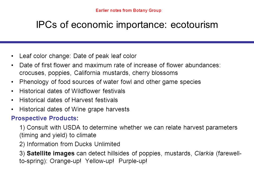 IPCs of economic importance: ecotourism Leaf color change: Date of peak leaf color Date of first flower and maximum rate of increase of flower abundances: crocuses, poppies, California mustards, cherry blossoms Phenology of food sources of water fowl and other game species Historical dates of Wildflower festivals Historical dates of Harvest festivals Historical dates of Wine grape harvests Prospective Products: 1) Consult with USDA to determine whether we can relate harvest parameters (timing and yield) to climate 2) Information from Ducks Unlimited 3) Satellite images can detect hillsides of poppies, mustards, Clarkia (farewell- to-spring): Orange-up.