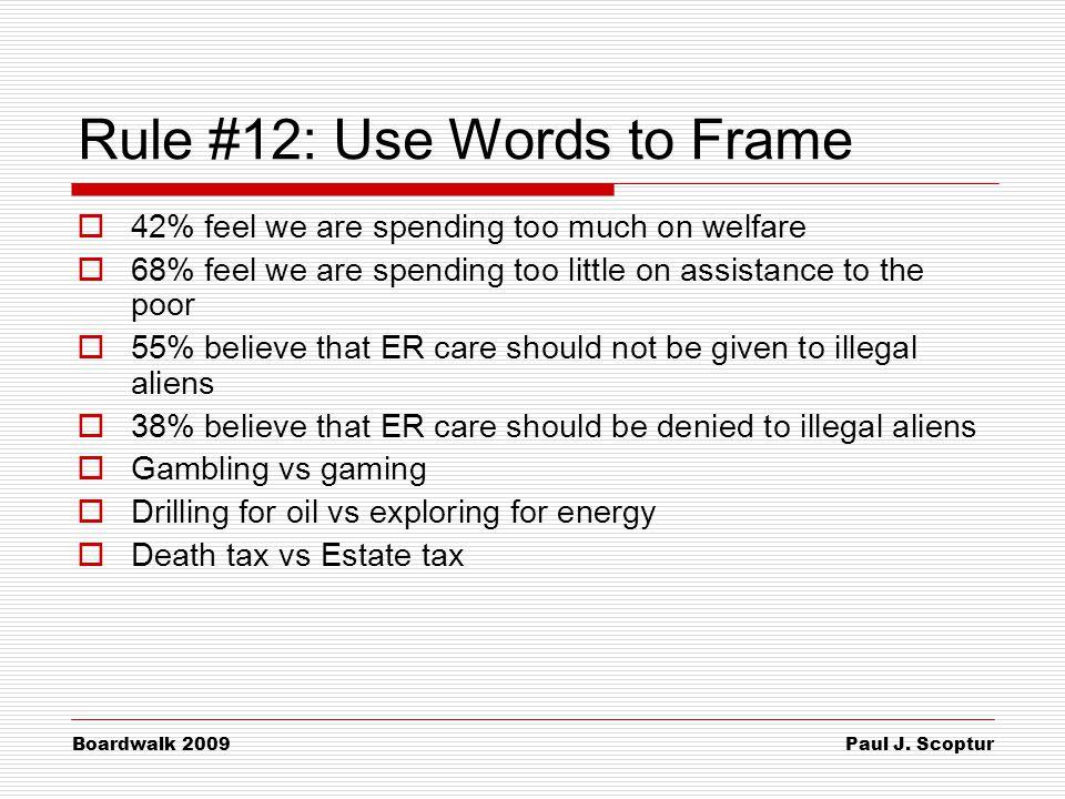 Paul J. Scoptur Boardwalk 2009 Rule #12: Use Words to Frame  42% feel we are spending too much on welfare  68% feel we are spending too little on as