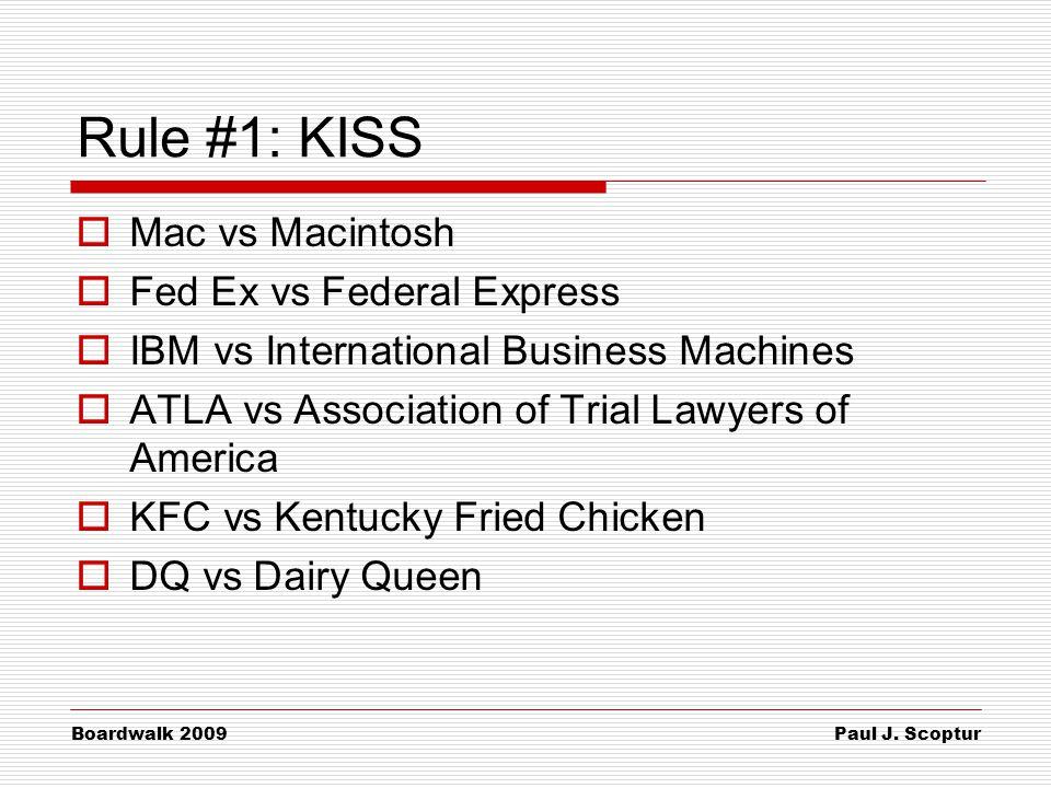 Paul J. Scoptur Boardwalk 2009 Rule #1: KISS  Mac vs Macintosh  Fed Ex vs Federal Express  IBM vs International Business Machines  ATLA vs Associa