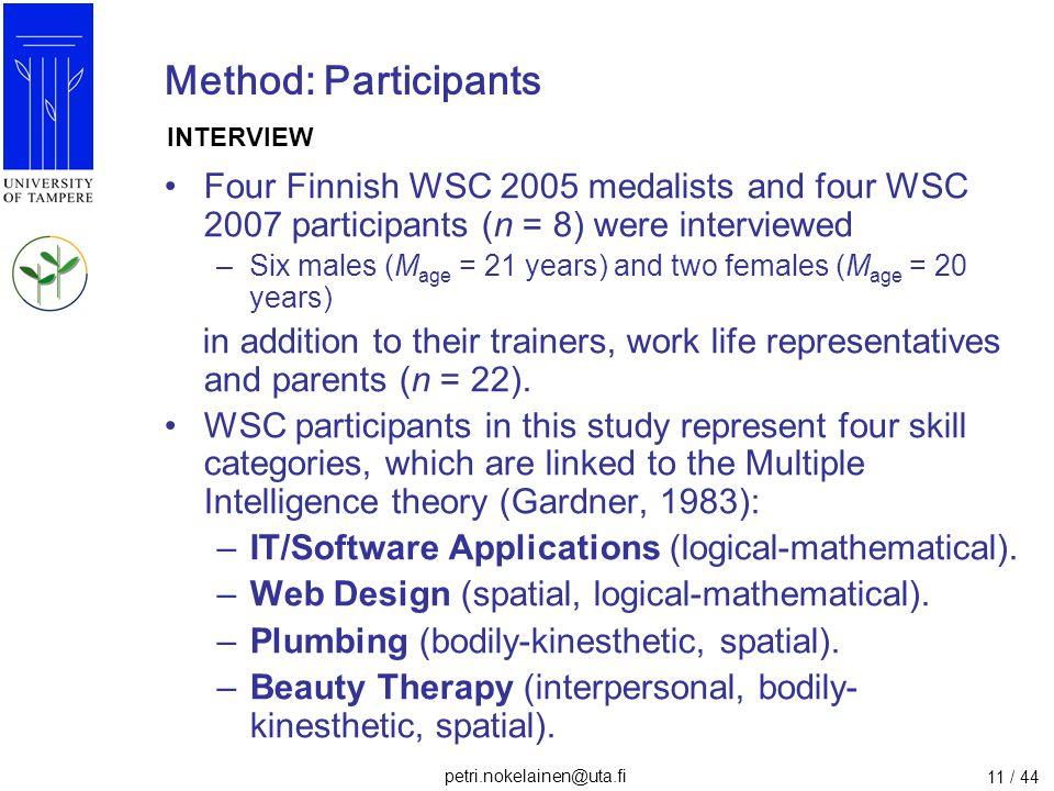 petri.nokelainen@uta.fi 11 / 44 Method: Participants Four Finnish WSC 2005 medalists and four WSC 2007 participants (n = 8) were interviewed –Six male