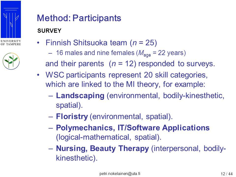 petri.nokelainen@uta.fi 12 / 44 Method: Participants Finnish Shitsuoka team (n = 25) –16 males and nine females (M age = 22 years) and their parents (