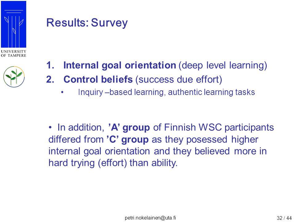 petri.nokelainen@uta.fi 32 / 44 Results: Survey 1.Internal goal orientation (deep level learning) 2.Control beliefs (success due effort) Inquiry –base