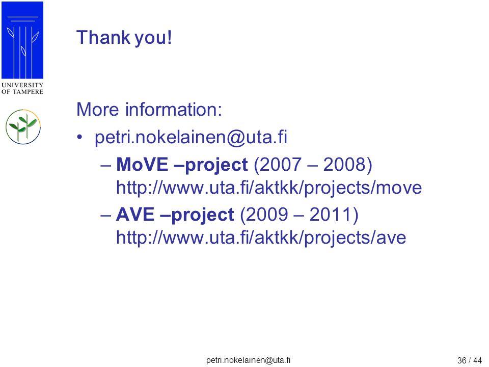 petri.nokelainen@uta.fi 36 / 44 Thank you! More information: petri.nokelainen@uta.fi –MoVE –project (2007 – 2008) http://www.uta.fi/aktkk/projects/mov