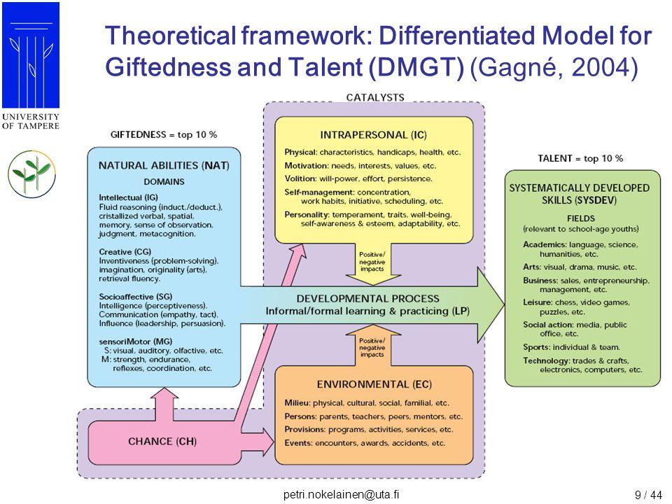 petri.nokelainen@uta.fi 10 / 44 Theoretical framework: Causal order of components in DMGT (Nokelainen & Ruohotie, 2009; Tirri & Nokelainen, in press)