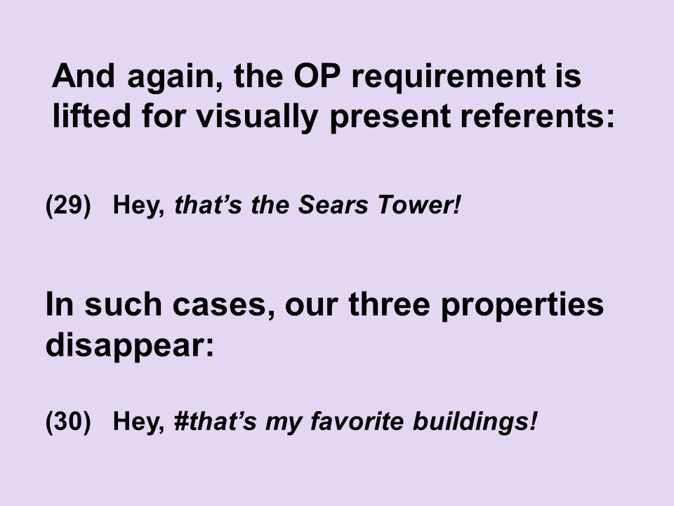 And again, the OP requirement is lifted for visually present referents: (29)Hey, that's the Sears Tower.