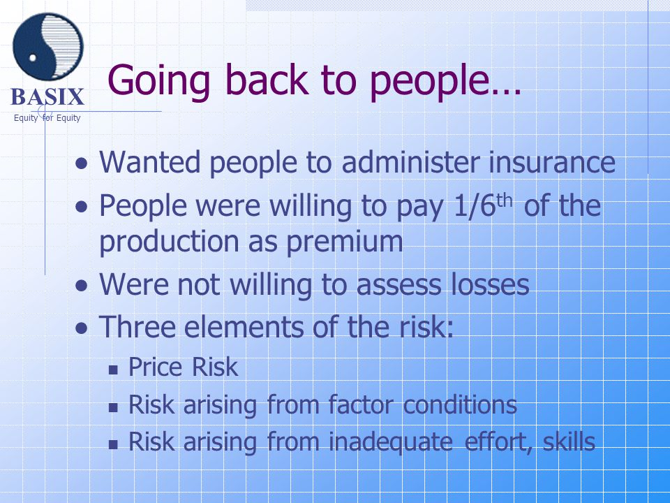 BASIX Equity for Equity Going back to people…  Wanted people to administer insurance  People were willing to pay 1/6 th of the production as premium  Were not willing to assess losses  Three elements of the risk: Price Risk Risk arising from factor conditions Risk arising from inadequate effort, skills