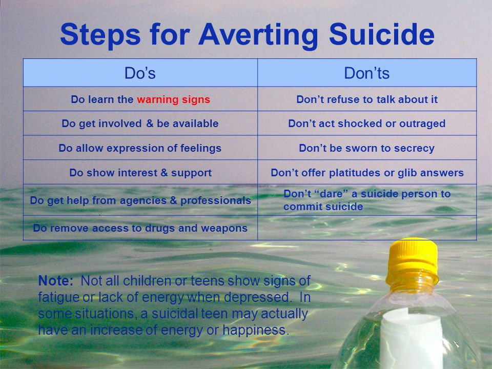 Steps for Averting Suicide Do'sDon'ts Do learn the warning signsDon't refuse to talk about it Do get involved & be availableDon't act shocked or outra