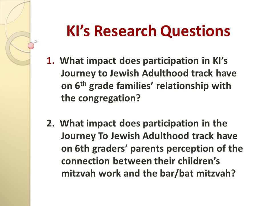 KI's Research Questions 1.