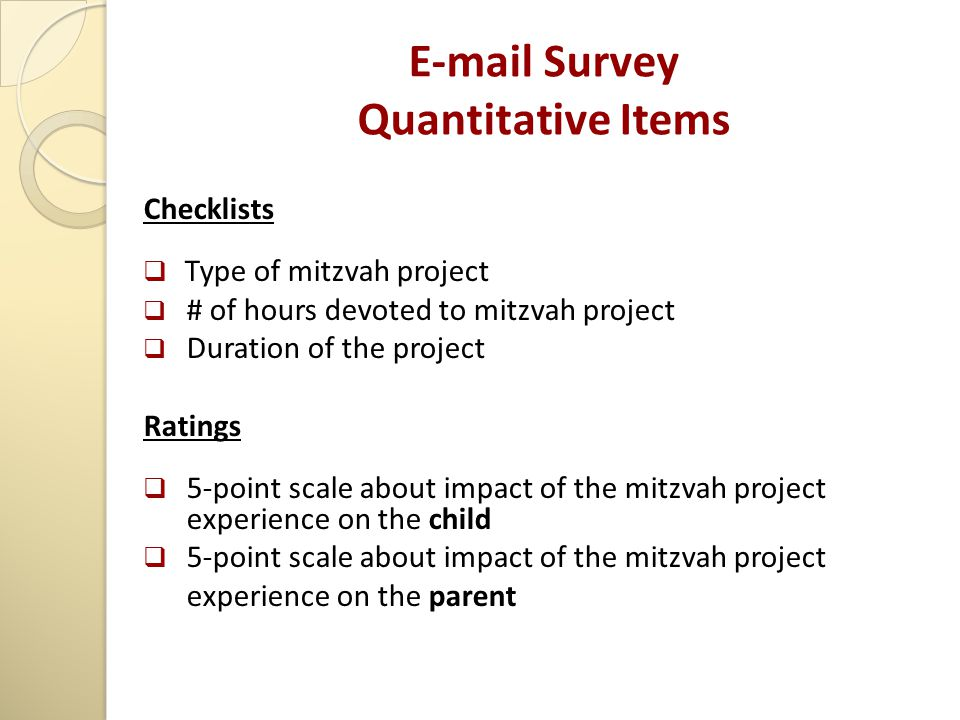 E-mail Survey Quantitative Items Checklists  Type of mitzvah project  # of hours devoted to mitzvah project  Duration of the project Ratings  5-po