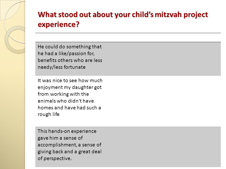 What stood out about your child's mitzvah project experience.