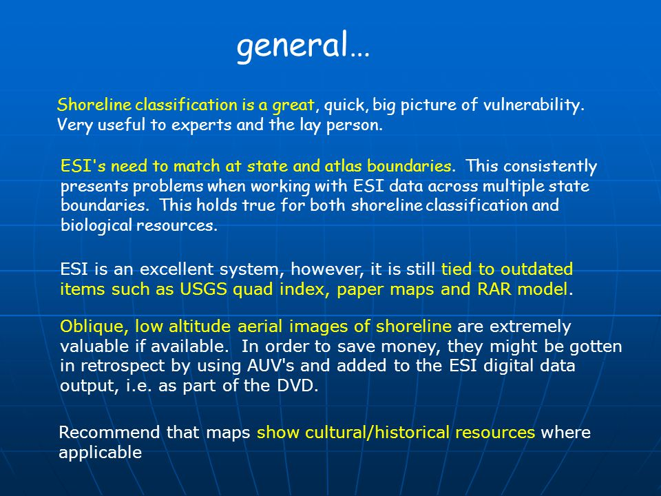 Shoreline classification is a great, quick, big picture of vulnerability. Very useful to experts and the lay person. ESI's need to match at state and