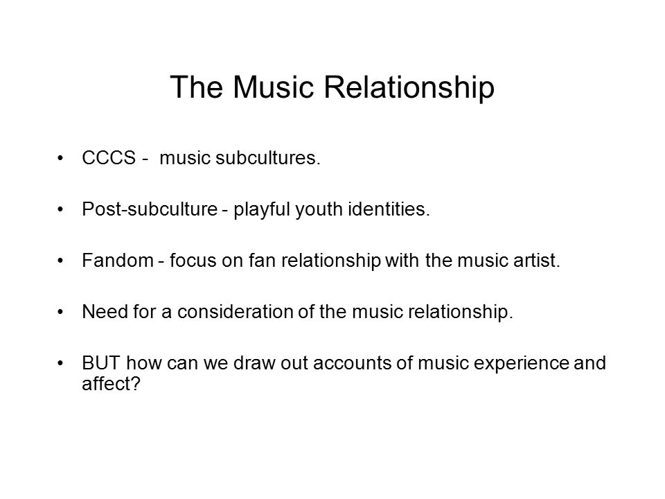 Music Elicitation To elicit Memory To elicit response and discussion To elicit accounts of feeling and attachment to music METHOD: Members bring a music track to the research group.