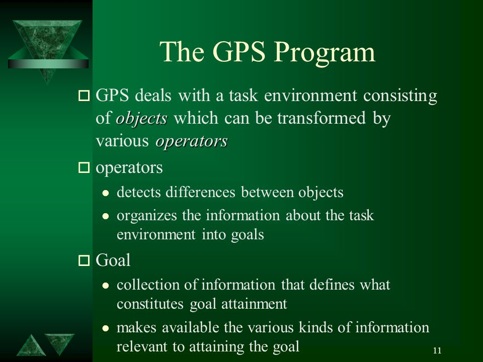 11 The GPS Program objects operators o GPS deals with a task environment consisting of objects which can be transformed by various operators o operators l detects differences between objects l organizes the information about the task environment into goals o Goal l collection of information that defines what constitutes goal attainment l makes available the various kinds of information relevant to attaining the goal