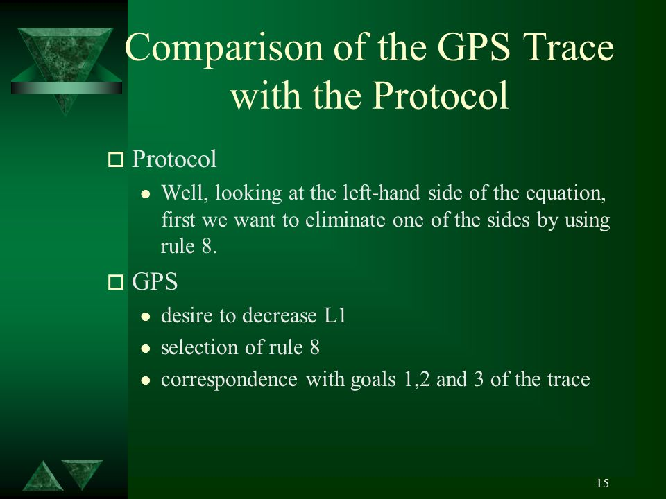 15 Comparison of the GPS Trace with the Protocol o Protocol l Well, looking at the left-hand side of the equation, first we want to eliminate one of the sides by using rule 8.