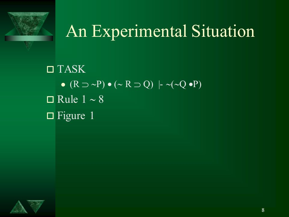 8 An Experimental Situation o TASK l (R   P)  (  R  Q) |-  (  Q  P) o Rule 1  8 o Figure 1