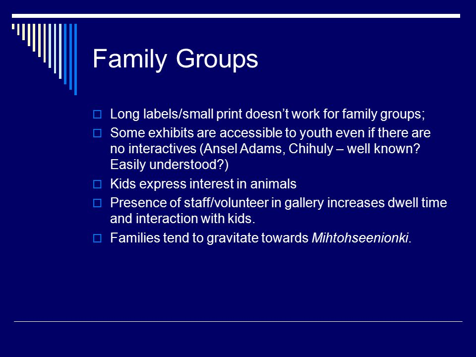 Family Groups  Long labels/small print doesn't work for family groups;  Some exhibits are accessible to youth even if there are no interactives (Ans