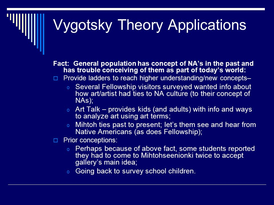 Vygotsky Theory Applications Fact: General population has concept of NA's in the past and has trouble conceiving of them as part of today's world:  P