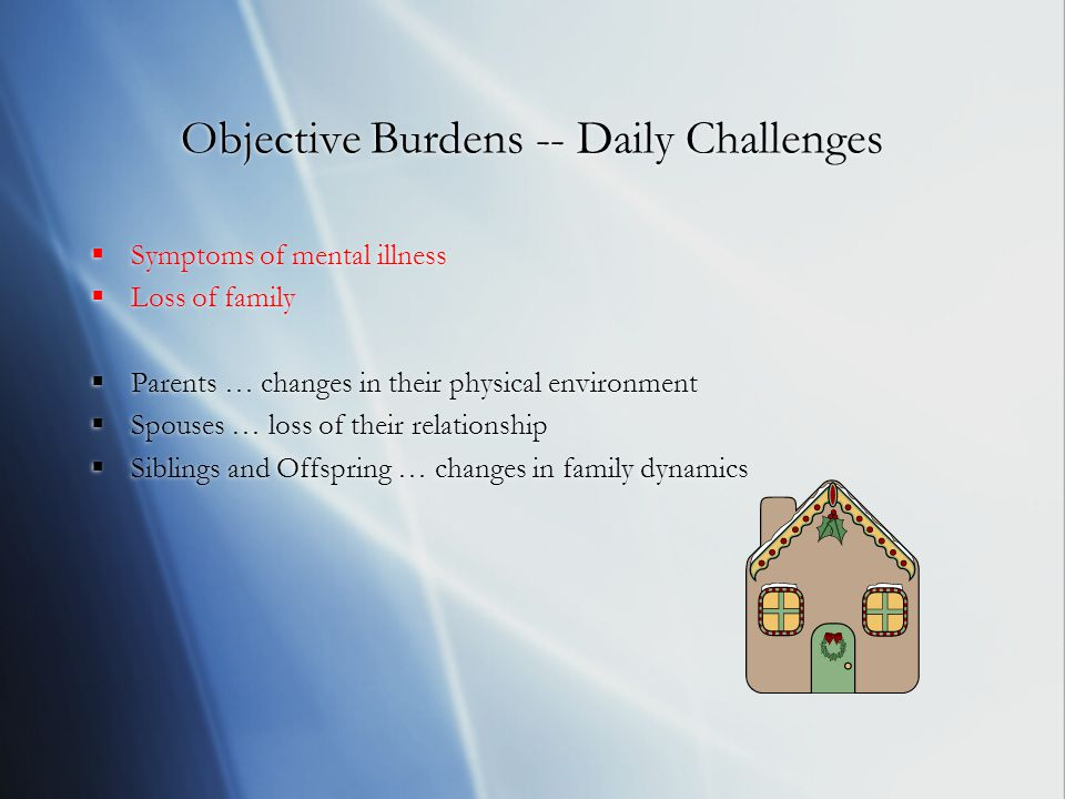 Objective Burdens -- Daily Challenges  Symptoms of mental illness  Loss of family  Parents … changes in their physical environment  Spouses … loss of their relationship  Siblings and Offspring … changes in family dynamics  Symptoms of mental illness  Loss of family  Parents … changes in their physical environment  Spouses … loss of their relationship  Siblings and Offspring … changes in family dynamics