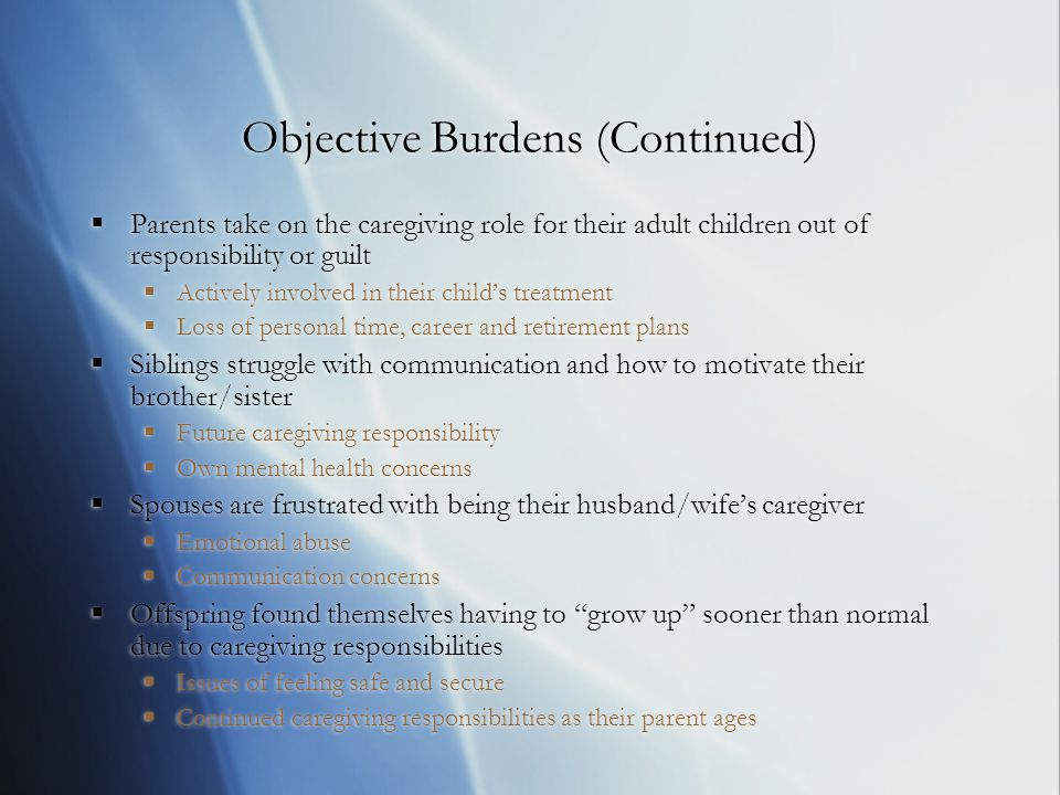 Objective Burdens (Continued)  Parents take on the caregiving role for their adult children out of responsibility or guilt  Actively involved in their child's treatment  Loss of personal time, career and retirement plans  Siblings struggle with communication and how to motivate their brother/sister  Future caregiving responsibility  Own mental health concerns  Spouses are frustrated with being their husband/wife's caregiver  Emotional abuse  Communication concerns  Offspring found themselves having to grow up sooner than normal due to caregiving responsibilities  Issues of feeling safe and secure  Continued caregiving responsibilities as their parent ages  Parents take on the caregiving role for their adult children out of responsibility or guilt  Actively involved in their child's treatment  Loss of personal time, career and retirement plans  Siblings struggle with communication and how to motivate their brother/sister  Future caregiving responsibility  Own mental health concerns  Spouses are frustrated with being their husband/wife's caregiver  Emotional abuse  Communication concerns  Offspring found themselves having to grow up sooner than normal due to caregiving responsibilities  Issues of feeling safe and secure  Continued caregiving responsibilities as their parent ages