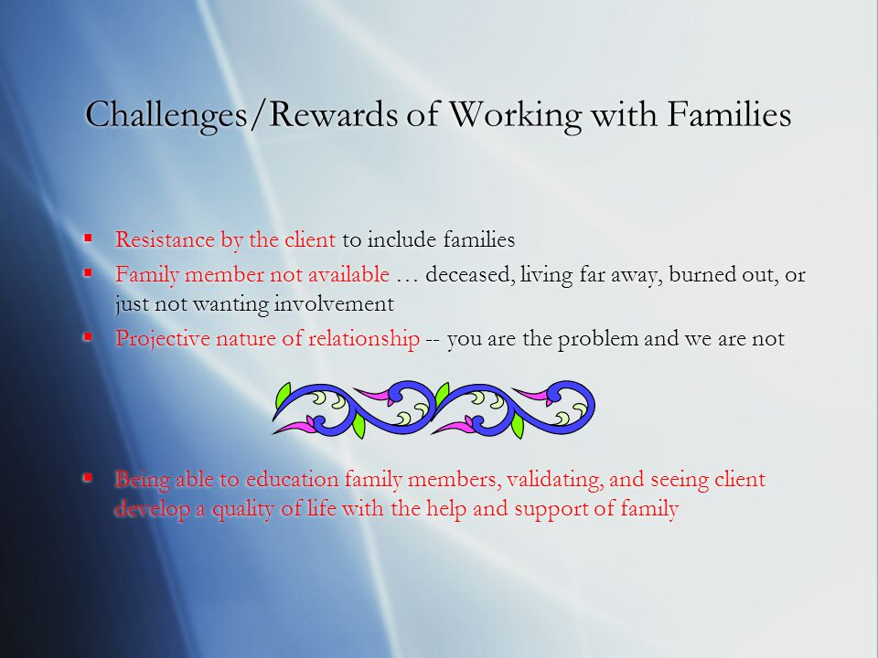 Challenges/Rewards of Working with Families  Resistance by the client to include families  Family member not available … deceased, living far away, burned out, or just not wanting involvement  Projective nature of relationship -- you are the problem and we are not  Being able to education family members, validating, and seeing client develop a quality of life with the help and support of family  Resistance by the client to include families  Family member not available … deceased, living far away, burned out, or just not wanting involvement  Projective nature of relationship -- you are the problem and we are not  Being able to education family members, validating, and seeing client develop a quality of life with the help and support of family