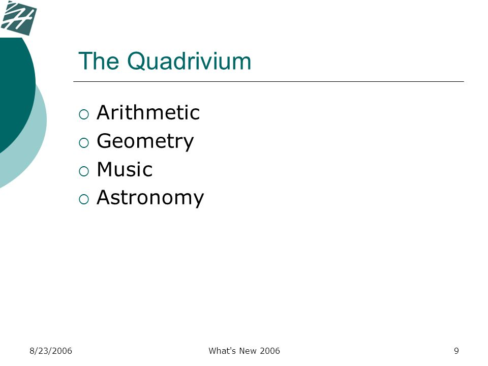 8/23/2006What's New 20069 The Quadrivium  Arithmetic  Geometry  Music  Astronomy