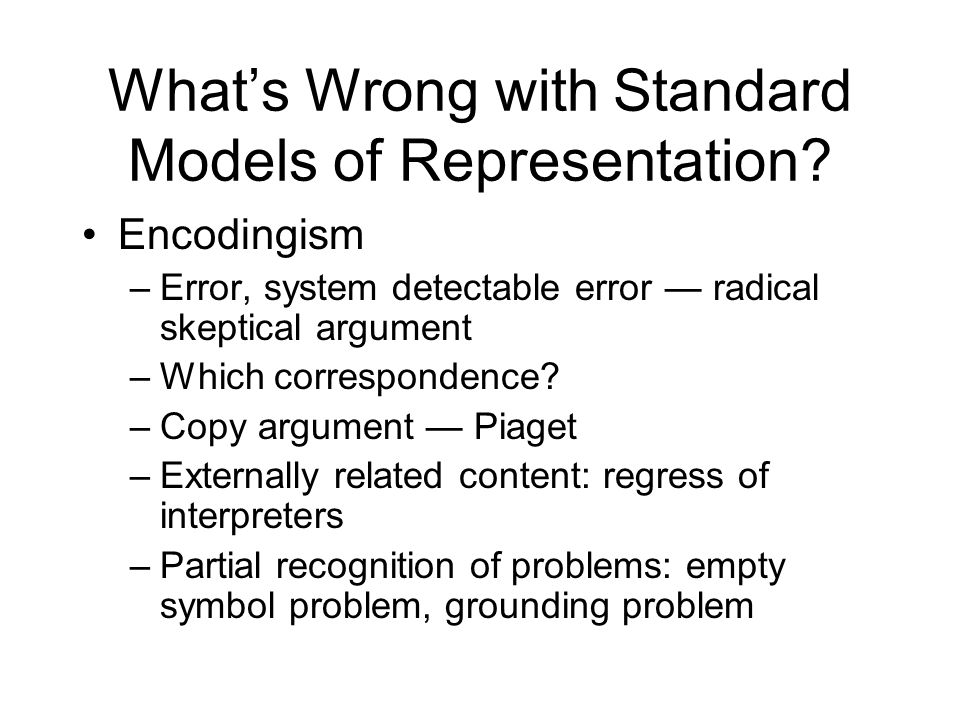 What's Wrong with Standard Models of Representation.
