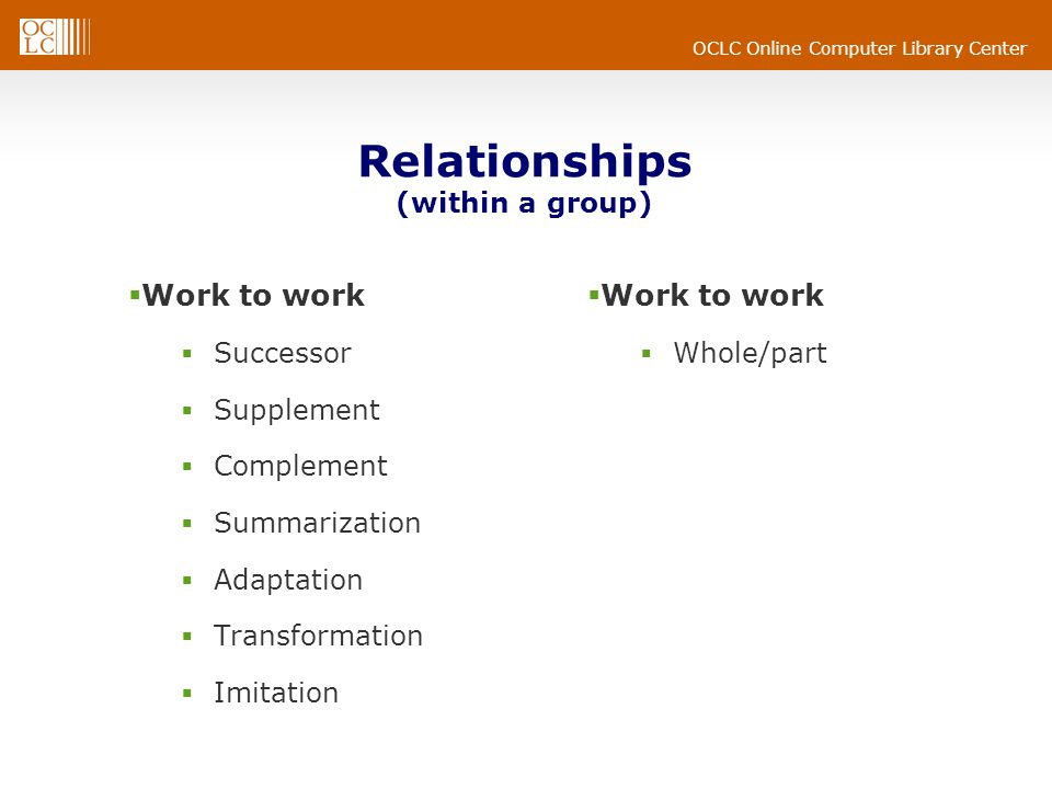 OCLC Online Computer Library Center Relationships (within a group)  Work to work  Successor  Supplement  Complement  Summarization  Adaptation  Transformation  Imitation  Work to work  Whole/part
