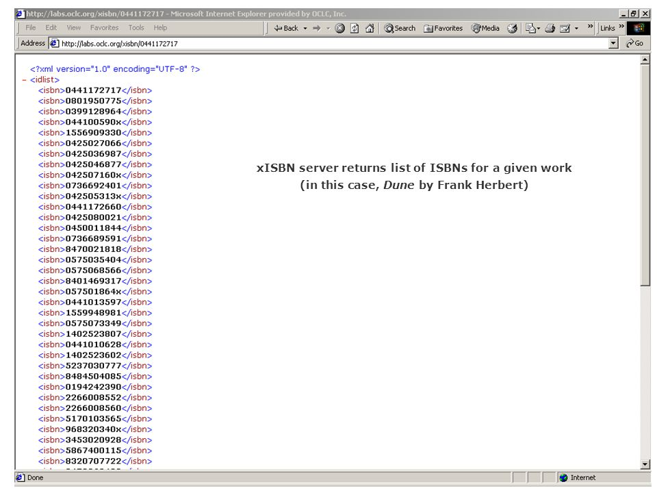 xISBN server returns list of ISBNs for a given work (in this case, Dune by Frank Herbert)
