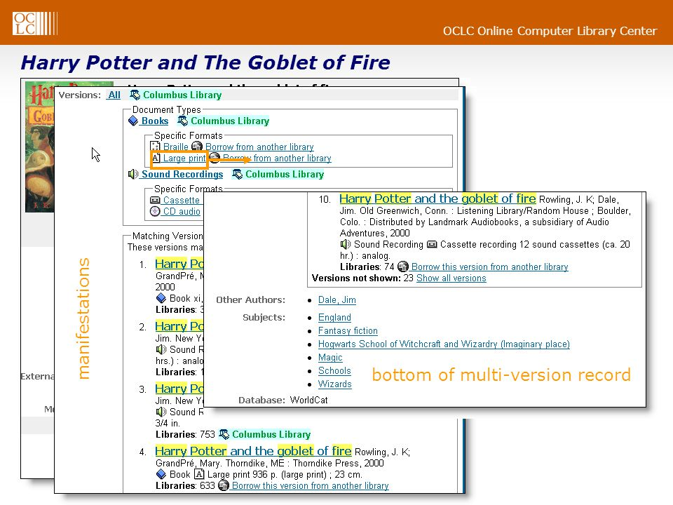 OCLC Online Computer Library Center Harry Potter and The Goblet of Fire bottom of multi-version record manifestations